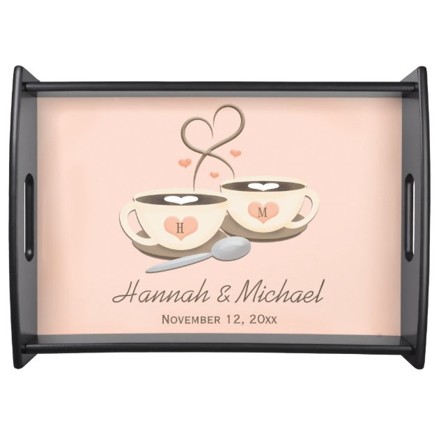 Monogrammed Coffee Cup Hearts Wedding Serving Trays 2