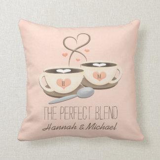 Monogrammed Coffee Cups Heart Wedding Throw Pillow