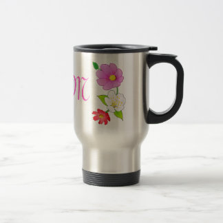 Monogrammed Coffee Travel Mugs Hawaiian Flowers