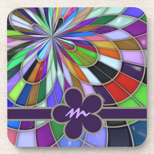 Monogrammed Colorful Abstract Stained Glass Flower Drink Coasters