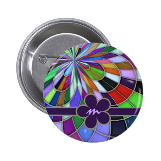 Monogrammed Colorful Abstract Stained Glass Flower Pinback Button