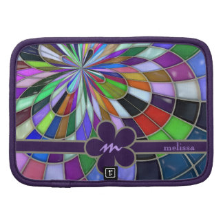 Monogrammed Colorful Abstract Stained Glass Flower Organizers