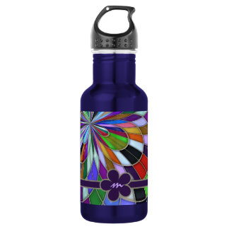 Monogrammed Colorful Abstract Stained Glass Flower Stainless Steel Water Bottle