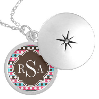 Monogrammed Colorful Dots and Stripes Pattern Silver Plated Necklace
