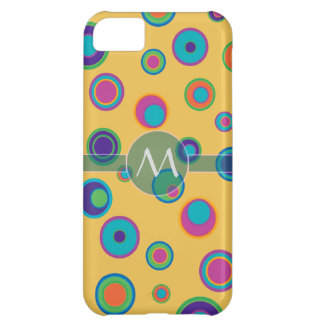 Monogrammed colorful funny dots in dots pattern 2 case for iPhone 5C