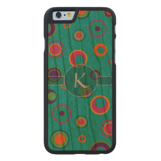 Monogrammed colorful funny dots in dots pattern 5 carved® cherry iPhone 6 slim case