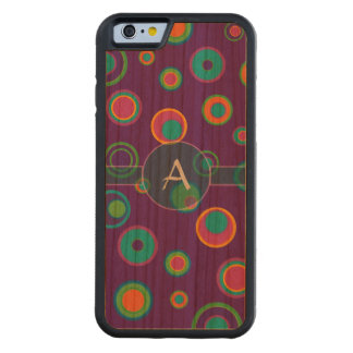 Monogrammed colorful funny dots in dots pattern 6 carved® cherry iPhone 6 bumper case