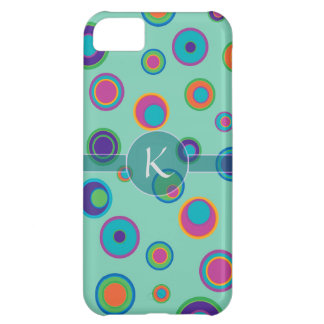 Monogrammed colorful funny dots in dots pattern iPhone 5C cover