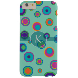 Monogrammed colorful funny dots in dots pattern barely there iPhone 6 plus case