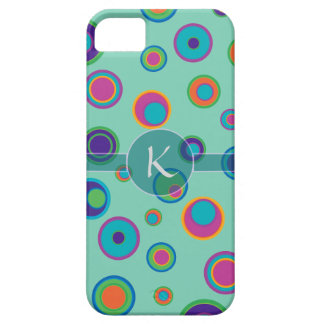 Monogrammed colorful funny dots in dots pattern iPhone 5 covers