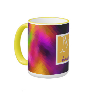 Monogrammed Colorful Rainbow Abstract Glassy Silk Ringer Coffee Mug