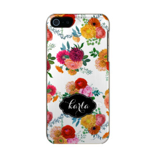 Monogrammed Colorful Spring Flowers Illustration Metallic Phone Case For iPhone SE/5/5s