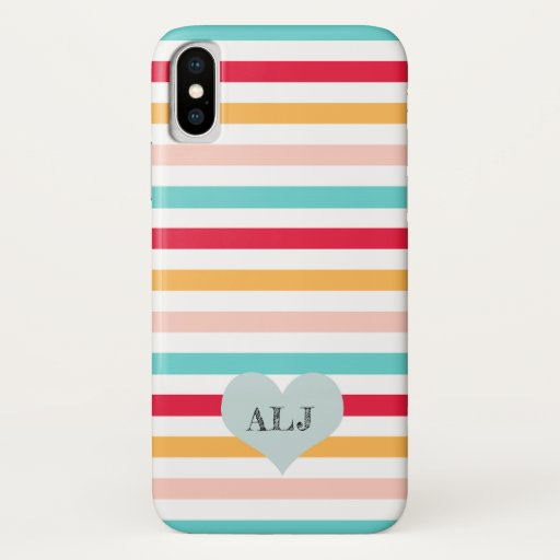 Monogrammed Colorful Striped iPhone Case