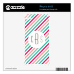 Monogrammed Colorful Stripes Aqua Blue Pink Bright Decals For The iPhone 4S