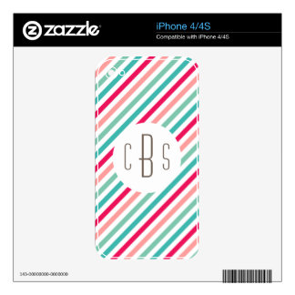 Monogrammed Colorful Stripes Aqua Blue Pink Bright iPhone 4S Skin