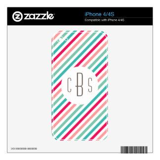 Monogrammed Colorful Stripes Aqua Blue Pink Bright iPhone 4S Skin
