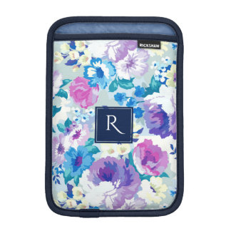 Monogrammed Colorful Summer Flowers Collage Sleeve For iPad Mini