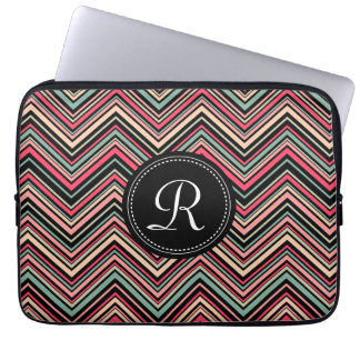 Monogrammed Colorful Tribal Chevron Pattern Computer Sleeve