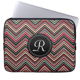 Monogrammed Colorful Tribal Chevron Pattern Laptop Sleeve
