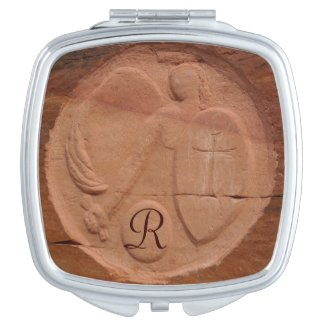 Monogrammed Compact Mirror Angel in the Rocks