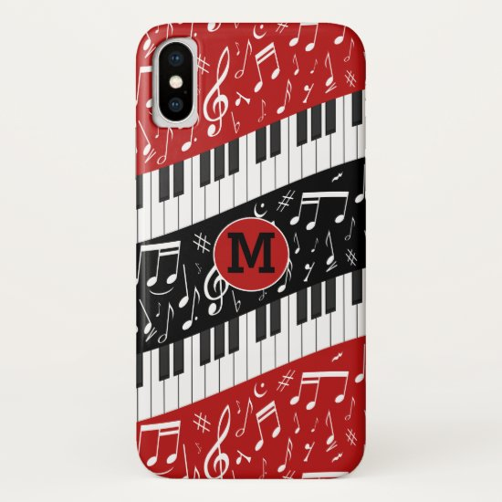 Monogrammed Contemporary curved Music iPhone XS Case