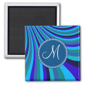 Monogrammed Cool Blue Gray Rainbow Slide Stripes 2 Inch Square Magnet
