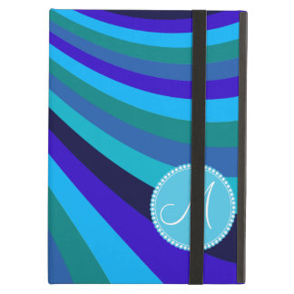 Monogrammed Cool Blue Gray Rainbow Slide Stripes iPad Cover