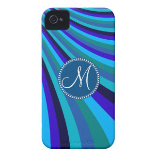 Monogrammed Cool Blue Gray Rainbow Slide Stripes iPhone 4 Cover