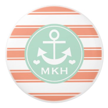 Beach Themed Monogrammed Coral and Aqua Anchor Ceramic Knob