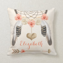Monogrammed Coral and Gold Boho Dreamcatcher Throw Pillow