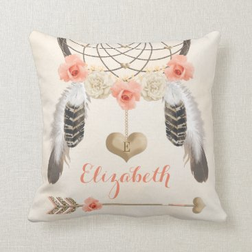 Valentines Themed Monogrammed Coral and Gold Boho Dreamcatcher Throw Pillow
