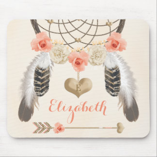 Monogrammed Coral and Gold Dreamcatcher and Arrow Mouse Pad