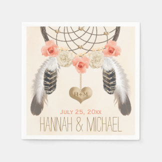 MONOGRAMMED CORAL AND GOLD DREAMCATCHER WEDDING PAPER NAPKIN