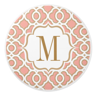 Monogrammed Coral and Gold Moroccan Ceramic Knob