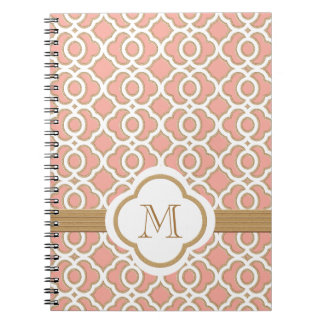 Monogrammed Coral and Gold Moroccan Spiral Notebook