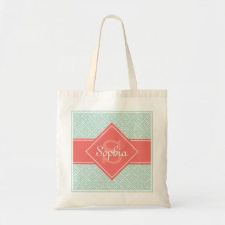 Monogrammed Coral and Mint Diamond Pattern Tote Bag