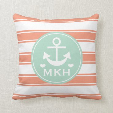 Beach Themed Monogrammed Coral and Teal Anchor Throw Pillow