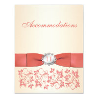 Monogrammed Coral, Champagne Floral Enclosure Card