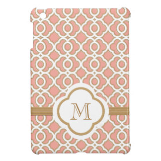 Monogrammed Coral Gold Moroccan Cover For The iPad Mini