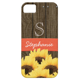 MONOGRAMMED CORAL GREEN RUSTIC SUNFLOWER iPhone 5 CASES