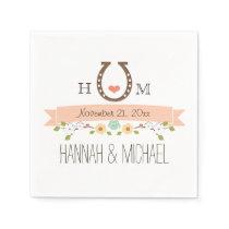 Monogrammed Coral Horseshoe Heart Wedding Paper Napkin