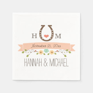Monogrammed Coral Horseshoe Heart Wedding Paper Napkin