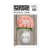 Monogrammed Coral Hydrangea Mason Jar Wedding Postage