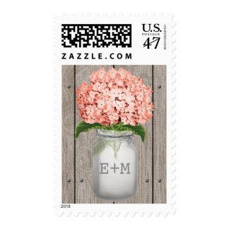 Monogrammed Coral Hydrangea Mason Jar Wedding Stamp