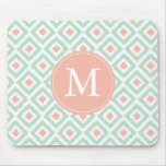 Monogrammed Coral Mint Diamonds Ikat Pattern Mouse Pad