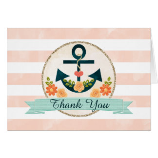 Monogrammed Coral Navy Nautical Wedding Thank You Card