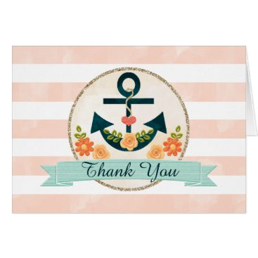 Beach Themed Monogrammed Coral Navy Nautical Wedding Thank You Card
