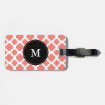 Monogrammed Coral Pink Quatrefoil Pattern Travel Bag Tags