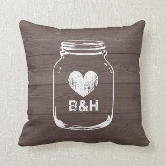 Monogrammed country chic mason jar throw pillows