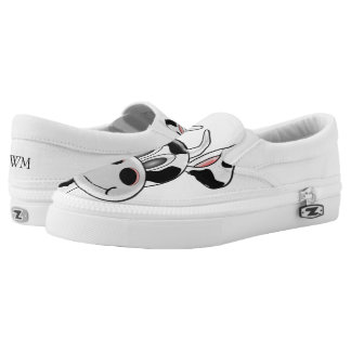 Monogrammed Cow White Slip-On Sneakers